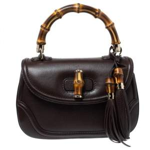 Gucci Dark Brown Leather Medium New Bamboo Top Handle Bag