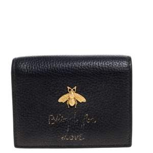 Gucci Black Leather Bee Blind For Love Compact Wallet