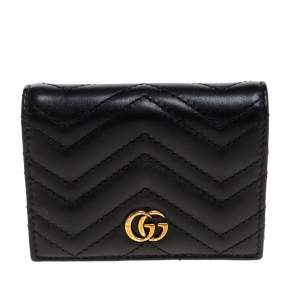 Gucci Black Matelasse Leather GG Marmont Card Case