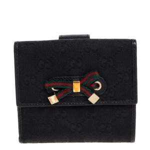 Gucci Black GG Canvas and Leather Mayfair Bow Compact Wallet