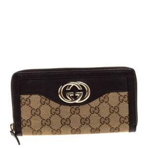 Gucci Beige/Brown GG Canvas and Leather Sukey Zip Around Wallet