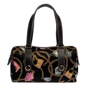 Gucci Black Printed SIlk/Satin and Leather Small Charmy Boston Bag