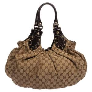 Gucci Beige/Brown GG Canvas and Leather Pelham Studded Hobo