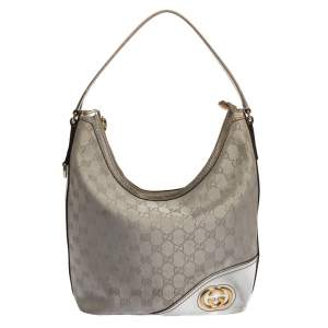 Gucci Silver GG Canvas and Leather New Britt Hobo