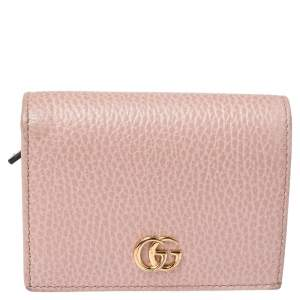 Gucci Nude Beige Leather GG Marmont Card Case