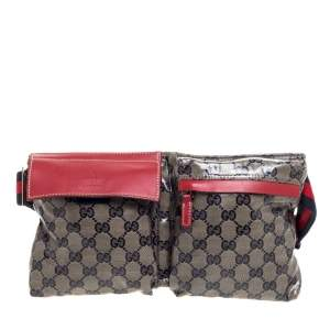 Gucci Beige/Red GG Coated Canvas and Leather Belt Bag