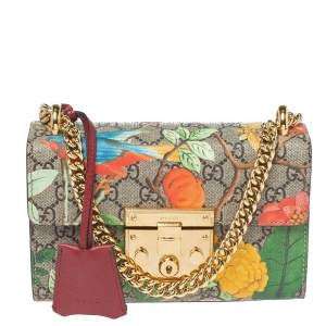 Gucci Multicolor GG Supreme Tian Canvas and Leather Small Padlock Shoulder Bag