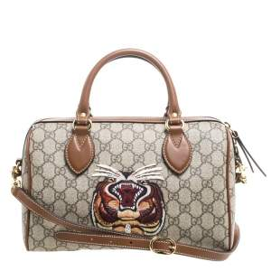 Gucci Brown/Beige GG Supreme Canvas Limited Edition Tiger Boston Bag