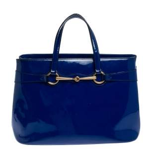 Gucci Blue Patent Leather Medium Bright Bit Tote