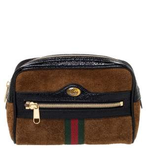 Gucci Brown/Black Suede and Patent Leather GG Ophidia Belt Bag