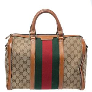 Gucci Brown GG Canvas and Leather Medium Vintage Web Boston Bag