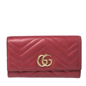 Gucci Red Matelasse Leather GG Marmont Continental Wallet