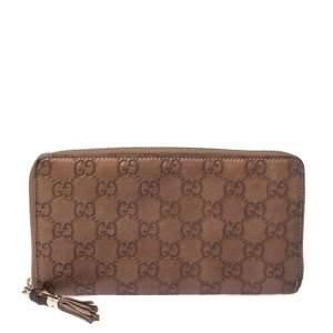 Gucci Tan Guccissima Leather Bamboo Tassel Zip Around Organizer Wallet