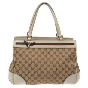 Gucci Beige GG Canvas and Leather Mayfair Bow Tote