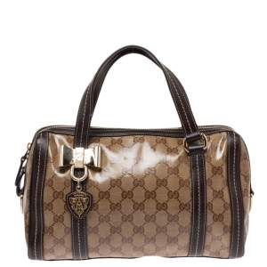 Gucci Beige/Brown GG Crystal Canvas and Leather Small Duchessa Boston Bag