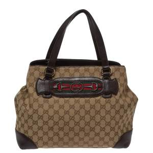 Gucci Beige/Brown GG Canvas and Leather Medium Supreme Web Dressage Tote