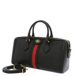 Gucci Black Leather Suede Medium Ophidia Satchel Bag