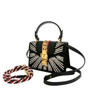 Gucci Black Satin Mini Sylvie Satin Bag