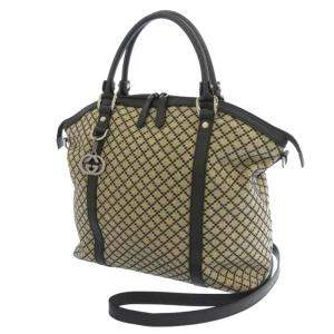 Gucci Brown/Beige Diamante Canvas Satchel Bag