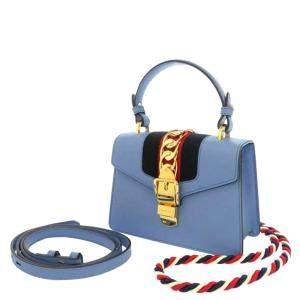 Gucci Blue Leather Mini Sylvie Bag