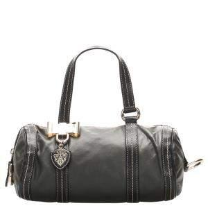 Gucci Black Leather Mini Duchessa Boston Bag