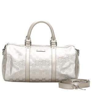 Gucci Silver GG Imprime Joy Boston Bag