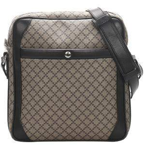 Gucci Brown Diamante Coated Canvas Crossbody Bag