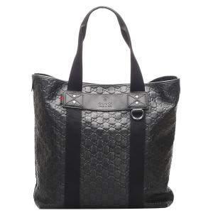 Gucci Black Guccissima Leather Web Tote Bag