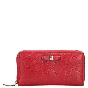 Gucci Red Guccissima Leather Zip Around Long Wallet