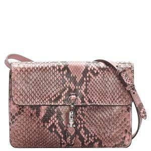 Gucci Pink/Brown Python Jackie Convertible Crossbody Bag