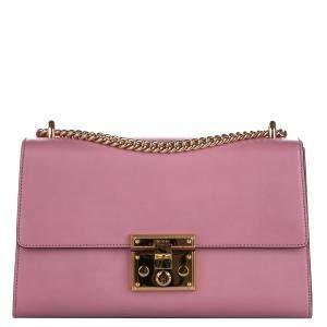 Gucci Pink Leather Medium Padlock Shoulder Bag