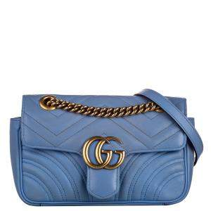 Gucci Blue Leather Mini GG Marmont Crossbody Bag