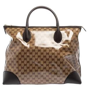 Gucci Beige GG Crystal Canvas and Leather Carry On Tote