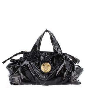 Gucci Black Patent Leather Hysteria Hobo