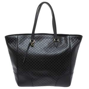 Gucci Black Microguccissima Leather Bree Tote