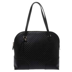 Gucci Black Microguccissima Leather Bree Satchel
