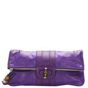 Gucci Purple Leather Bamboo Clutch Bag
