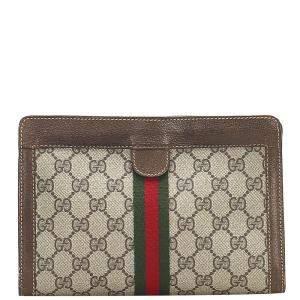 Gucci Brown/Beige GG Canvas Web Clutch Bag