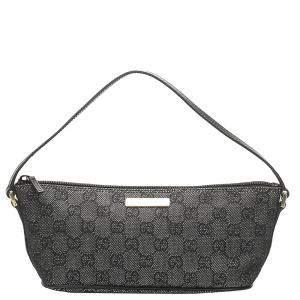 Gucci Black Canvas Boat Bag