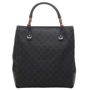 Gucci Black GG Canvas Bamboo Tote Bag