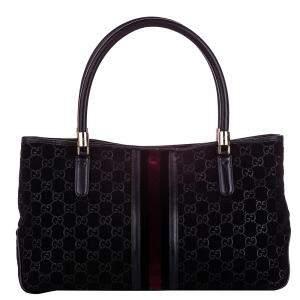 Gucci Black Suede Web Tote Bag