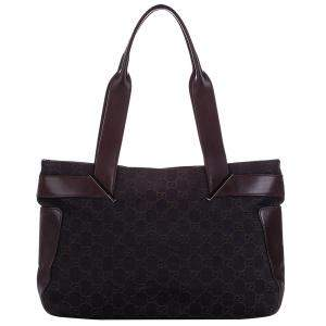 Gucci Black GG Trimmed Leather Tote Bag