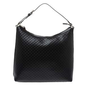 Gucci Black Microguccissima Leather Hobo