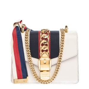 Gucci Offwhite Leather Mini Web Chain Sylvie Shoulder Bag