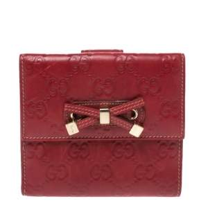 Gucci Red Guccissima Leather Princy Compact Wallet