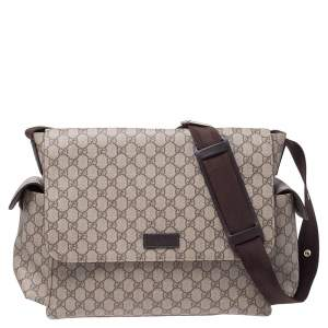 Gucci Beige GG Supreme Canvas Diaper Messenger Bag