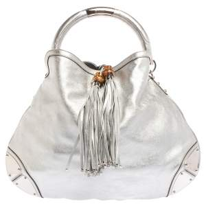 Gucci Silver Leather Large Babouska Indy Hobo