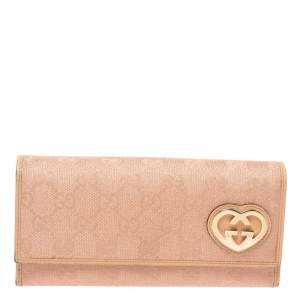 Gucci Beige/Pink Shimmer GG Canvas Lovely Heart Continental Wallet