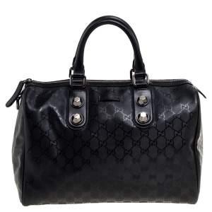 Gucci Black GG Imprime Canvas Medium Joy Boston Bag