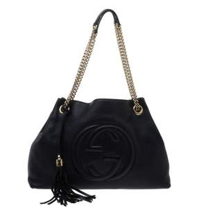 Gucci Black Leather Medium Soho Shoulder Bag
